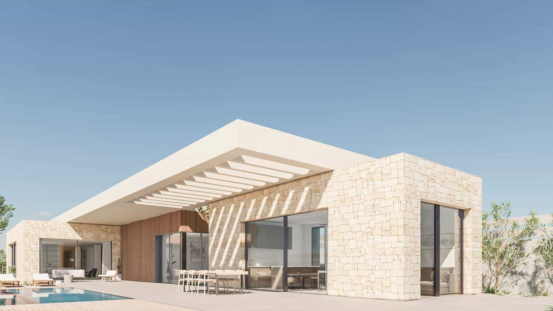 Render fachada vivienda en piedra y hormigón visto blanco