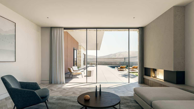 Render interior salón con chimenea y vistas a exterior